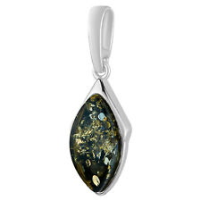925 Solid Pure Sterling Silver Green Baltic Amber Marquise Pendant