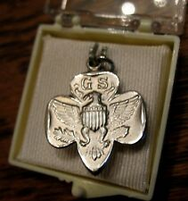 RARE CHARM Girl Scout Mini-EAGLE LOGO Sterling Sil. Mint in BOX, CHRISTMAS GIFT
