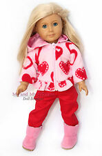 "FLEECE HEART JACKET + PANTS + BOOTS Girl Clothes Outfit for 18"" American Doll"