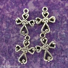 Antique Silver Alloy Metal Filigree Cross Charms 16 Pieces 20mm  #0128
