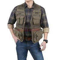 Men's Multi Pocket Vest Mesh Lining Fishing Travel Safari Outdoor Vest Waistcoat