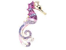 Burgundy Purple Crystal Rhinestone Water Seahorse Brooch Pin Xmas Jewelry Gifts
