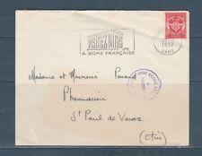 enveloppe  timbre FM 12 rouge seul sur lettre  voyagé en 1957 armée de l'air