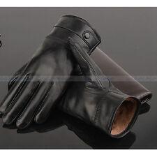 Men Gloves Genuine Leather Sheepskin Winter Warm Driving Luxury Mittens Black