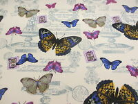 Ivory Butterfly/Butterflies Printed 100% Cotton Canvas Fabric.