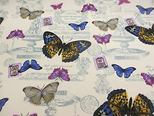 Ivory Butterfly/butterflies Printed 100 Cotton Canvas Fabric