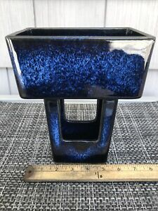 Ikebana Vase Toyo Pottery Mid Century Modern Japan Modernist Japanese MCM Blue