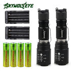 2x Tactical 6000lm 5Modes CREE T6 LED Rechargeable Flashlight + Battery&Charger