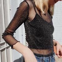 Women See-through Sheer Mesh Blouse Long Sleeve Casual Crop Top Tee T-Shirt Pop.