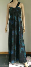 MONSOON Black Grey Green Blue Peacock Feather Print One Shoulder Maxi Dress 16