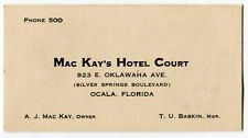 "Old Business Card: ""Mac Kay's Hotel Court"" - Illustrated [Ocala, FL]"