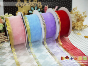 38mm Solid Organza Pull Bow Ribbon W/ Gold Stripes for Gift, Craft Use