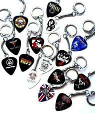 Guitar Pick Plectrum Key Ring chain JUDAS PRIEST KISS Motorhead Queen Slayer fob