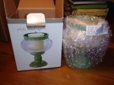 Sears Whole Home Etched Leaf Hurricane Votive Candle Holder Green Pedestal NOS