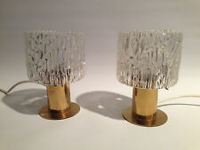 2x 50er 60er Design Lampe Glas Messing Kalmar Nikoll Era Brass Lamps 50s 60s