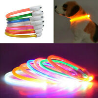 30cm - 70cm Leuchtband LED USB Akku Leuchthalsband Sicherheit Hundehalsband