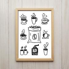 Bild Kaffee Illustration Kunstdruck DIN A4 Vintage Schwarz Weiß Küche Deko