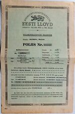 1937 Estonia Insurance Policy Society Eesti Lloyd