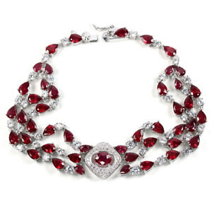 GENUINE AAA BLOOD RED RUBY & WHITE CZ STERLING 925 SILVER BRACELET 8.75 INCH.