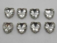 20 Silver Clear Crystal Glass Heart Rose Montees 10X10mm Sew on Rhinestones Bead