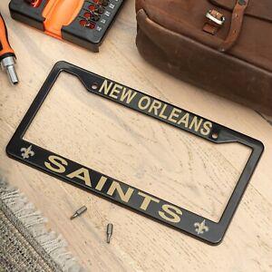 New Orleans Saints Black License Plate Frame Cover - EliteAuto3K