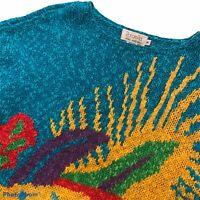 Vintage Rafaella M Sweater Teal Artsy Short Sleeve Hand Knit Casual Medium