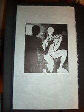 Listed Chicago Artist Inara Cedrins Black & White Original Linocut Surreal Print