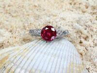925 Sterling Silver Certified Handmade 5 Carart Ruby Gemstone Cluster Ring