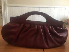 Cole Haan MaroonLeather Handbag, Evening Bag Clutch