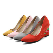 Womens Elegant Faux Suede Pointed Toe Wedge Heel Pumps Shoes UK Size 1--12 C379