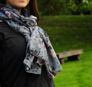 Spotted Flower Print Light Grey Womens Fashion Scarf Rose