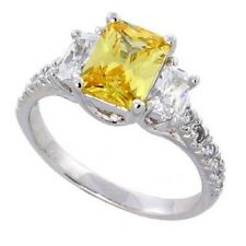 Sterling Silver Engagement Ring,Emerald Cut Yellow Topaz Color & Clear CZ Stones
