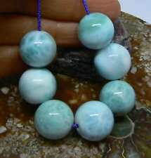 7 RARE CARIBBEAN BLUE LARIMAR ROUND SPHERE BALL BEADS 15-16mm 188cts AAA+++