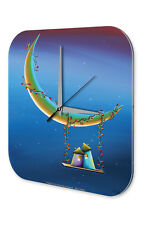 Horloge murale Motif Fantaisie  Swing de la lune Imprimee Acrylglas