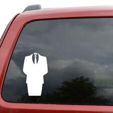 "Anonymous Suit Meme Car Window Decor Vinyl Decal Sticker- 6"" Tall White"