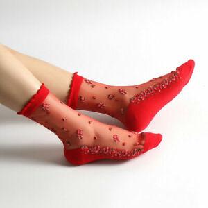 Women Sheer Mesh Transparent Socks Lace Ultrathin Fishnet See Through Ankle Sock