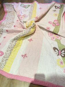 Designer Pottery Barn Girls Reversible Butterfly Polka Dot Quilt Bed Spread