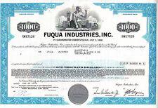 Broker Owned Stock Certificate: Robert Baird Co, payee; Fuqua Industries, issuer