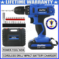 """21V Cordless Drill Dual Speed 1/2""""Lithium Ion Max Drill Driver Bits With Battery"""
