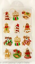 Lot of 12 Christmas Gingerbread Cookie Mini Ornaments Country Primitive .75