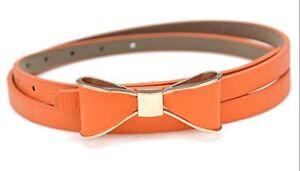 Ladies Women Fashion Bowknot Skinny Leather Thin Waist Belt UK Fast Shipping