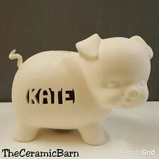 Piggy Bank Ceramic You Paint Hand-Carved Personalized Name of Your Choice