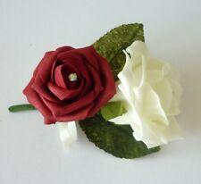 Burgundy Artificial Wedding Flowers - Brides Bouquet - Bridesmaid - Buttonhole