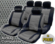 Black Grey Mesh Racing Look Airbag Compatible Car Front Rear Seat Covers Set