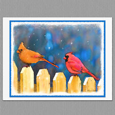 6 Cardinals on the Fence Wild Bird Blank Art Note Greeting Cards