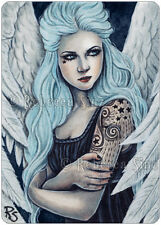 ACEO LE PRINTS Art Fantasy Angel Bubblegoth Pastel Sky Blue Hair Tattoos Gothic