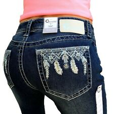 Women's Charme By Grace In LA Jeans Mid Rise Festival Feather Easy Bootcut Jean