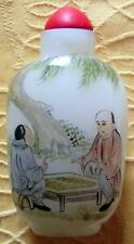 Old Signed Chinese Snuff Perfume Bottle Hand Painted Milk Glass Chess Players