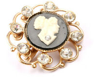 Black and White Cameo on Gold Tone, Brooch, Vintage 1950s