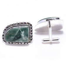 Green Moss Agate Gemstone Handmade 925 Sterling Silver Cufflinks Jewelry 2574